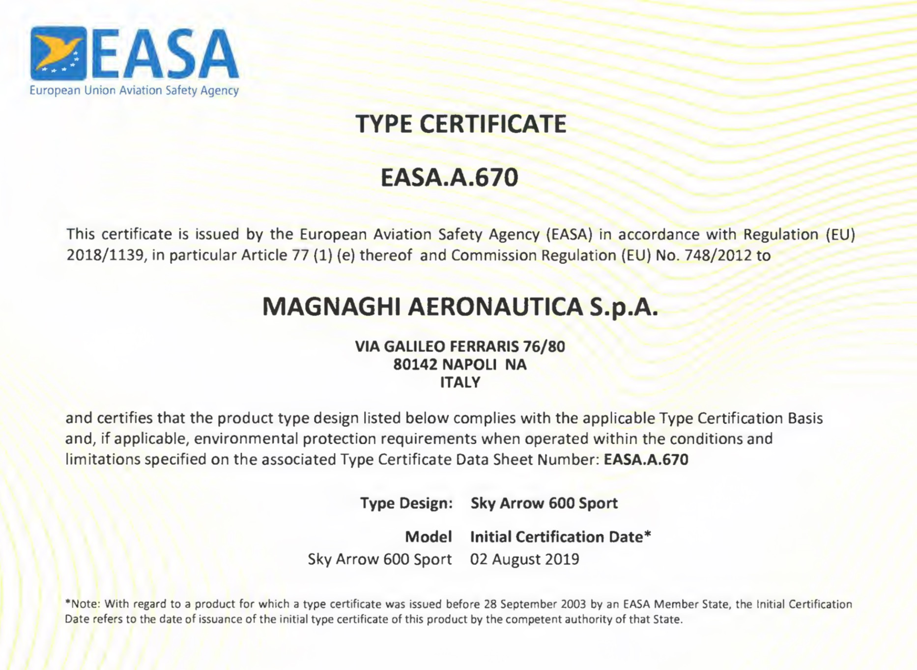 The Sky Arrow Type Certification EASA CS-LSA